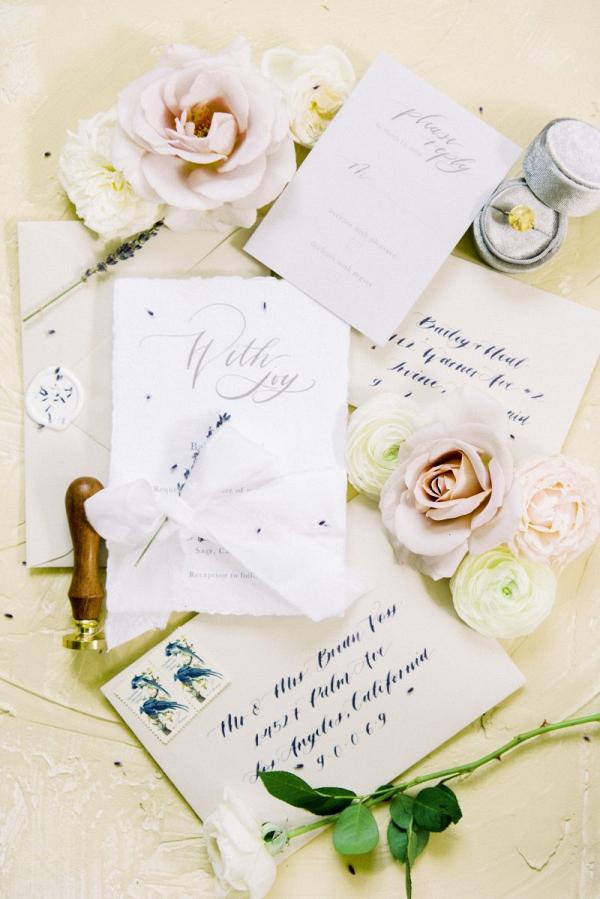 Romantic calligraphy inspired wedding invitations