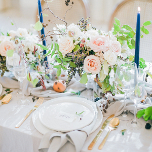 Pale Pink, Gray, and Blue Wedding Table on Elizabeth Anne Designs