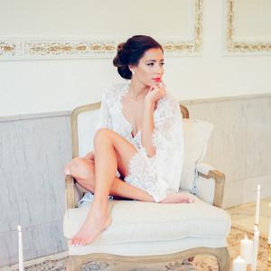 Bride in Lace Robe on Elizabeth Anne Designs