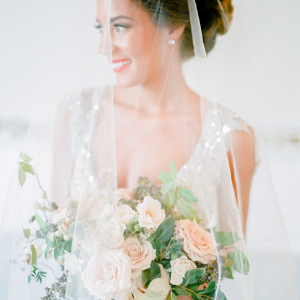 Bride with Sheer Veil on Elizabeth Anne Designs