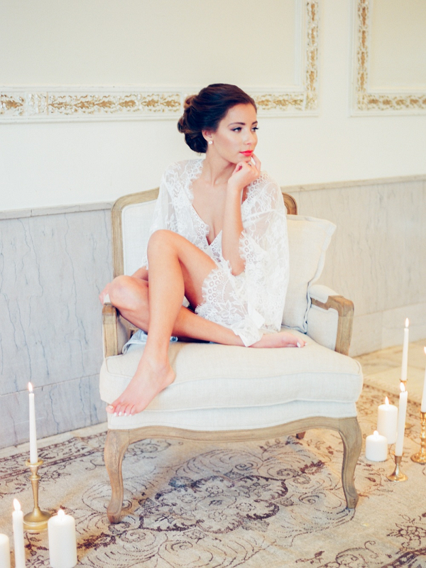 Bride in Lace Robe on Elizabeth Anne Designs