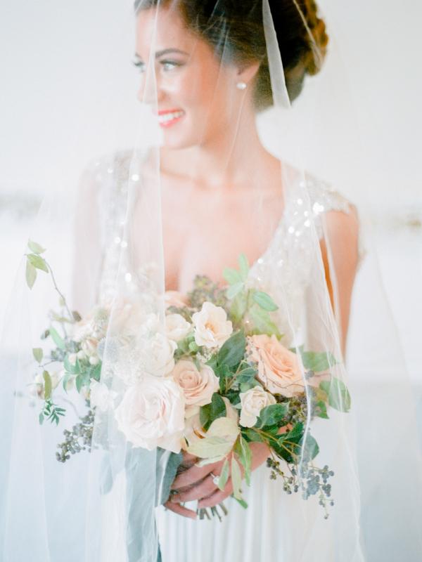 Bride with Sheer Veil on Elizabeth Anne Designs