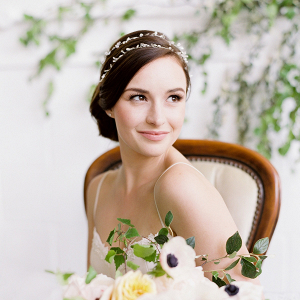 Bride with Double Wrap Headpiece