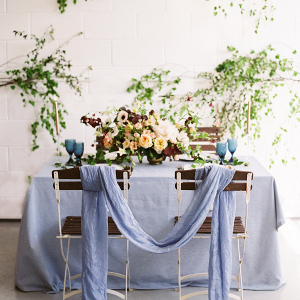 Blue Copper and Greenery Wedding Table