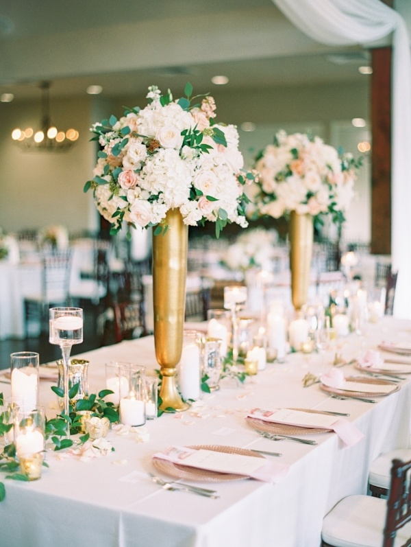 Tall peach and gold wedding centerpieces