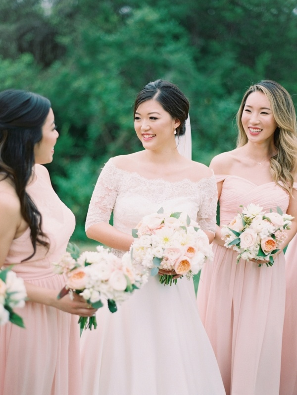 Bride in lace off the shoulder gown