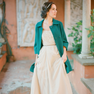 Bride in teal coat