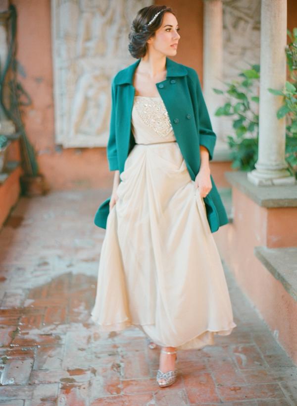 Bride in teal coat