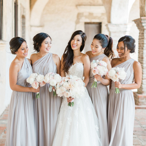 Pale gray bridesmaid dresses