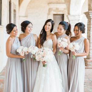 Pale gray bridesmaid dresses
