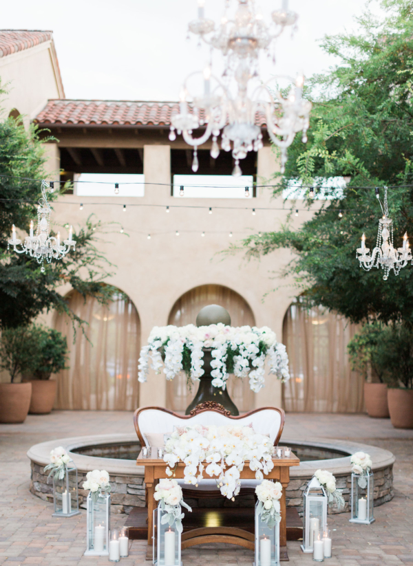 Sweetheart table with orchids