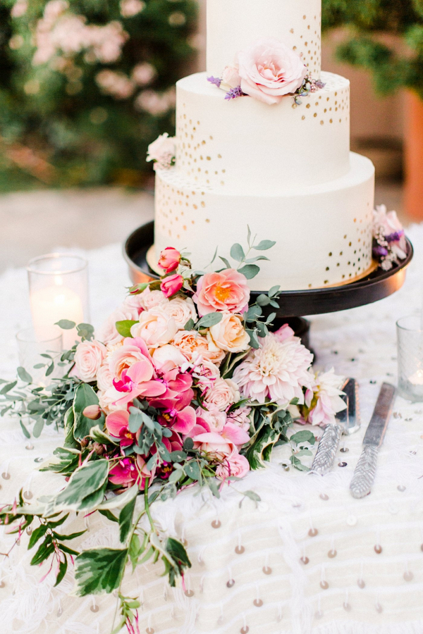 Gold polka dot wedding cake