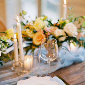 Elegant ivory peach rose blue wedding tablescape