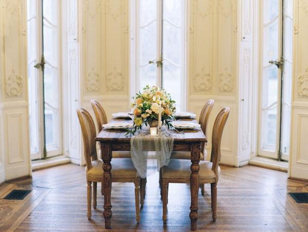 Elegant french inspired wedding tablescape