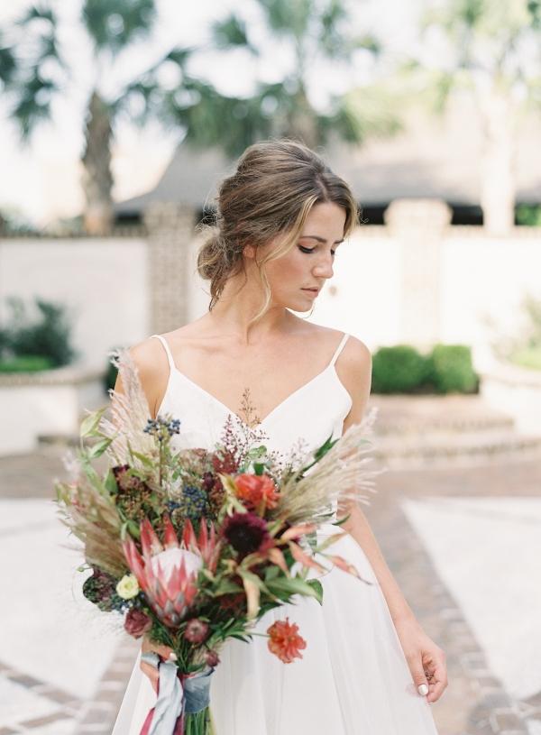 Wild red bridal bouquet