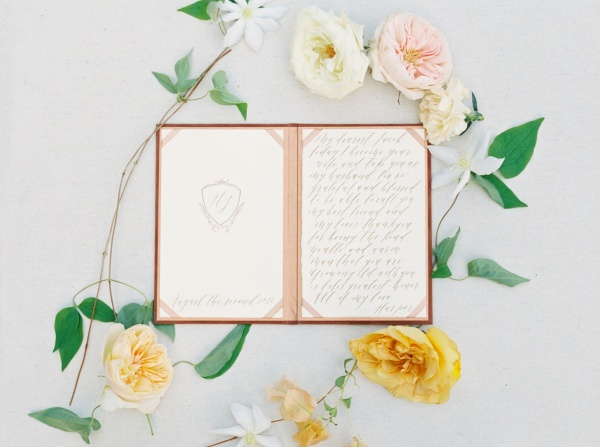 Calligraphy Vow Book on Elizabeth Anne Designs
