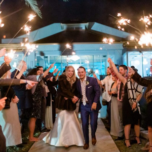 Elegant sparkler reception wedding sendoff