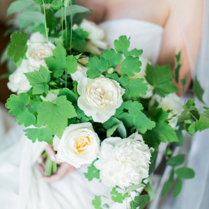 Large garden rose and greenery bouquet