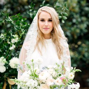 Elegant bride in mantilla veil