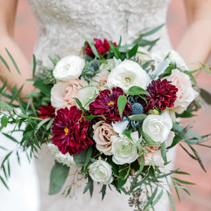 Classic red, white, and blush bridal bouquet