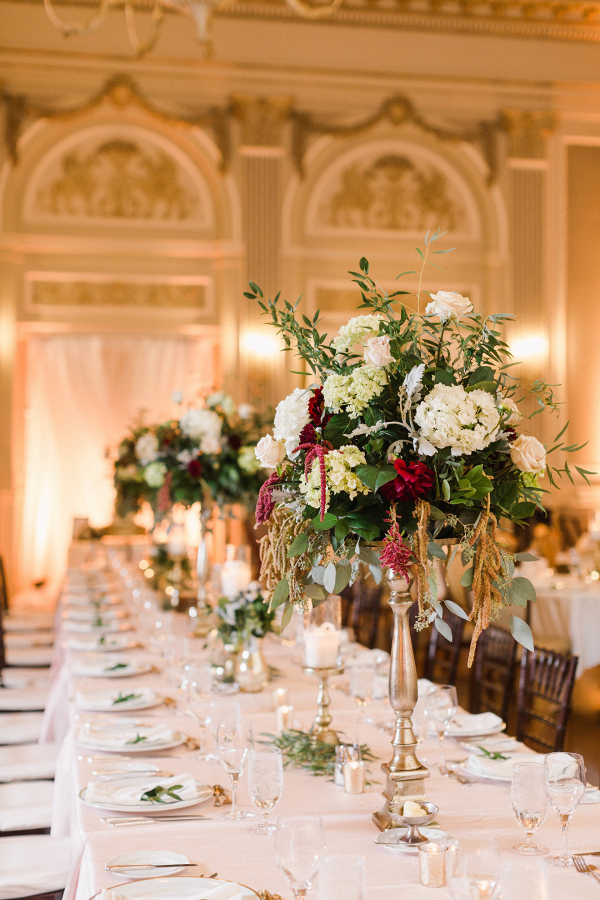 Classic tall reception centerpieces with hydrangeas and roses