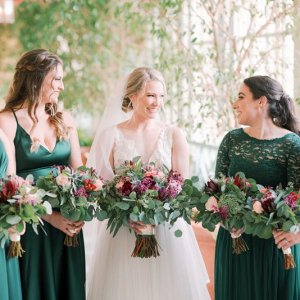 Evergreen bridesmaids dresses