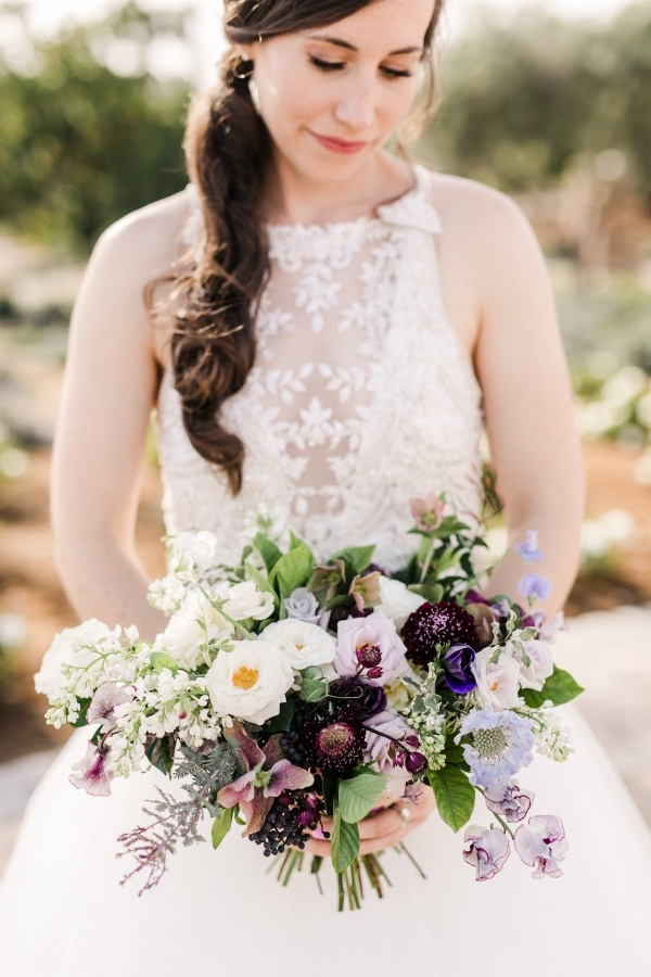 Purple and blue bridal bouquet