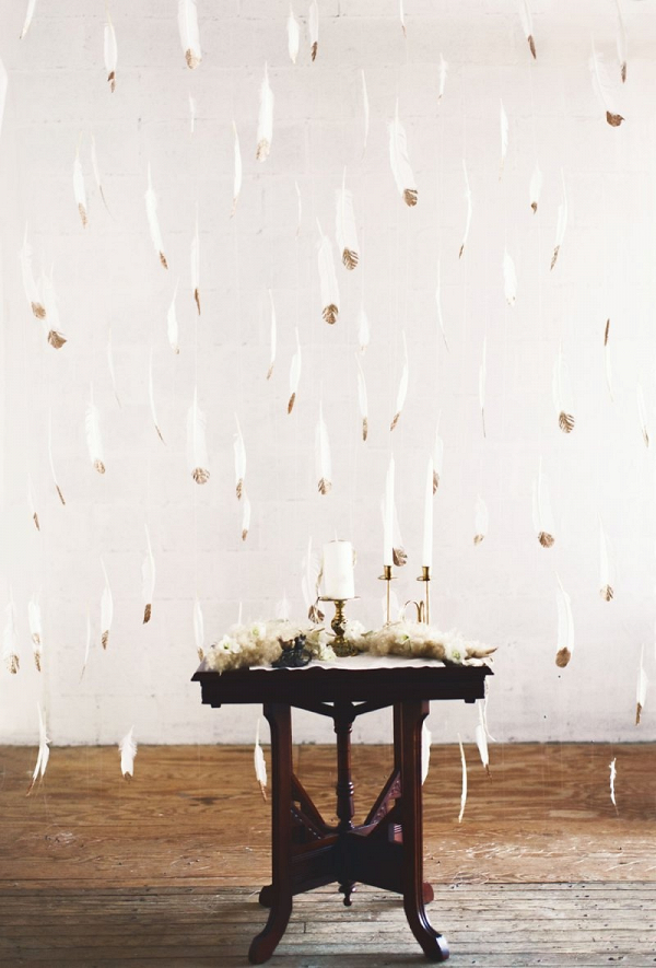 Hanging feather backdrop