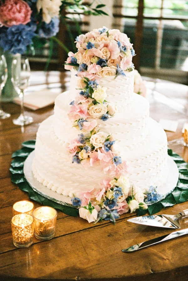 Wedding Cake with Blue and Pink Flowers