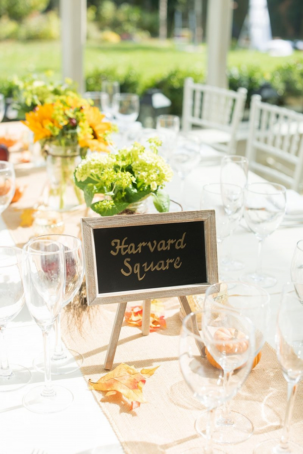 Fall wedding tablescape with chalkboard table names