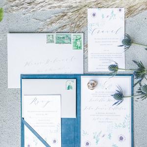 Blue and green wedding invitation