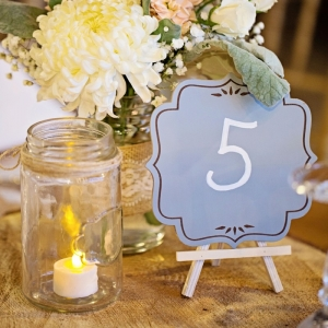 Rustic centerpiece with table number