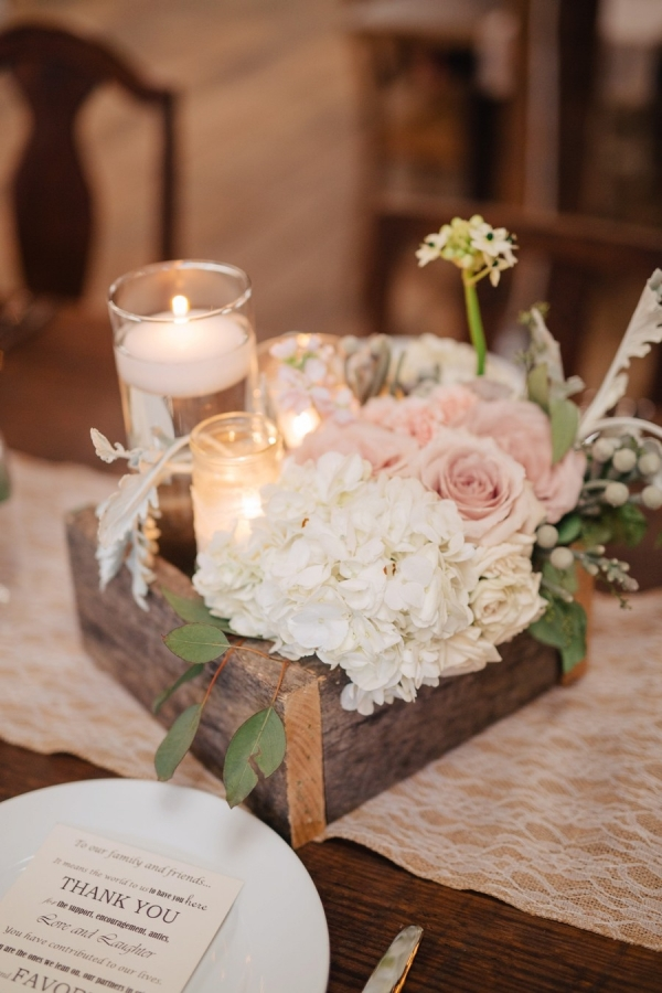 Rustic and romantic hydrangea and candle centerpiece