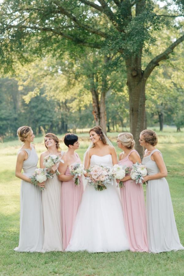Blush and gray bridesmaid dresses