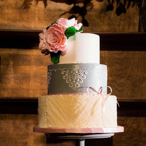 Gray and pink wedding cake