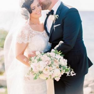 Vintage inspired bride with her groom