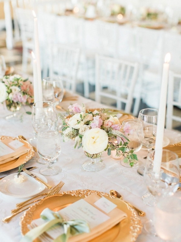 Blush, sage, and gold tablescape