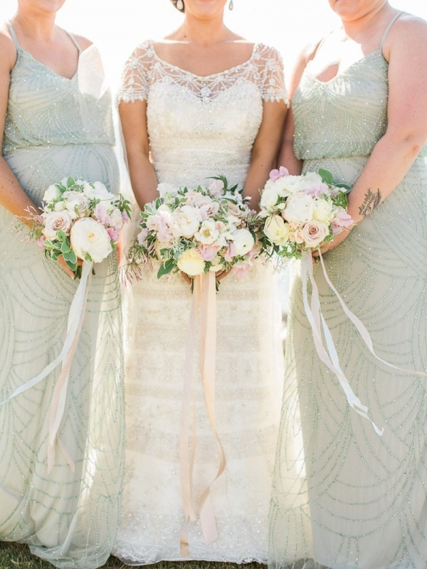 Blush and white bouquets with sage bridesmaid dresses