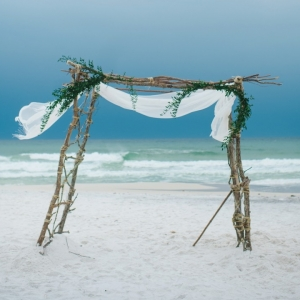 Boho beach ceremony arch