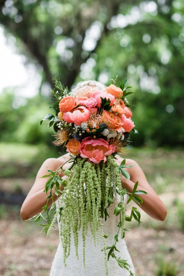 Eclectic boho pink and orange bouquet