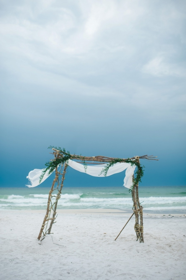 Boho beach ceremony arch