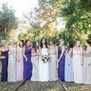 purple, lavender, and gray bridesmaid dresses