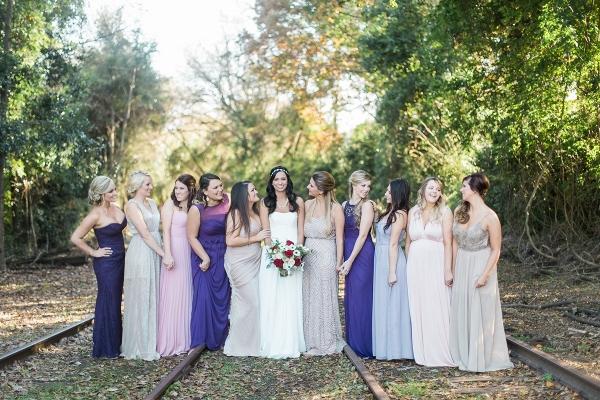purple, lavender, and gray bridesmaid dresses