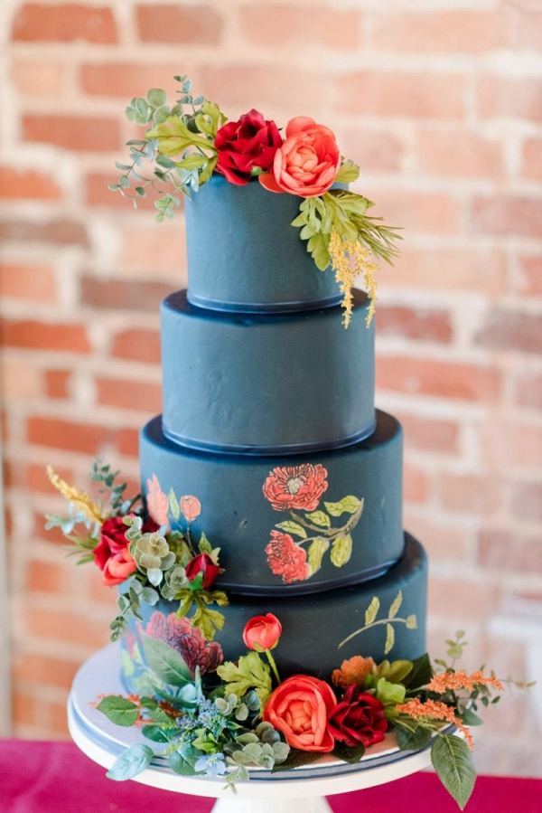 Blue and orange cake