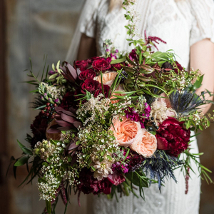Lush burgundy bouquet