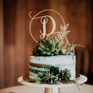 Semi naked wedding cake with succulents