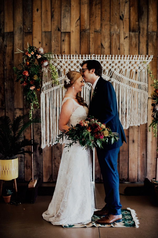 Boho wedding with macrame backdrop