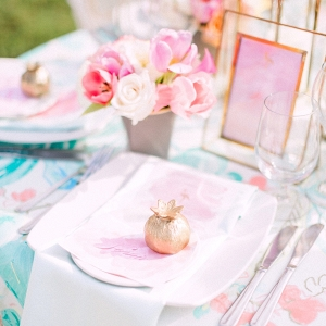 pink and aqua placesetting
