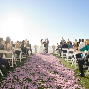 Lavender rose petal ceremony aisle
