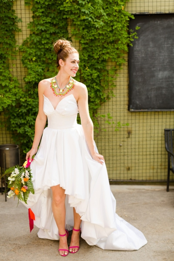 Modern bride with a high-low wedding dress